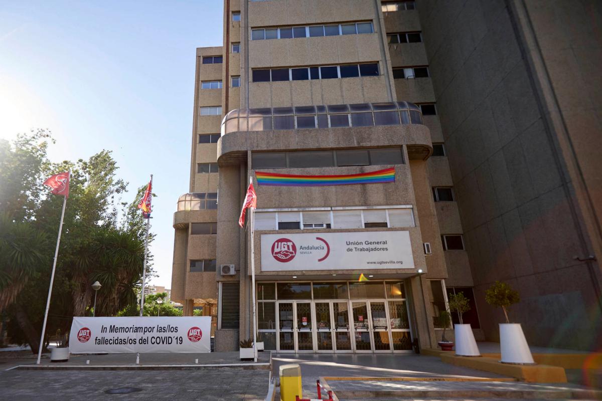 La sede de UGT-A en la calle Blas Infante de Sevilla.