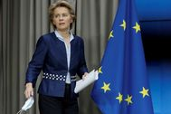 European Commission President lt;HIT gt;Ursula lt;/HIT gt; Von Der Leyen is seen during a news conference following European summit in video conference format, in Brussels, Belgium June 19, 2020. Olivier Hoslet/Pool via REUTERS - RC2DCH93NE3U