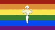 Bandera LGTBI con el escudo del Celta