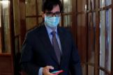 Salvador Illa, a la salida del Hemiciclo del Congreso.