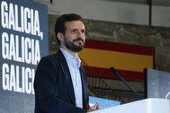 Pablo Casado, este sábado, en un mitin del PP en Pontevedra.