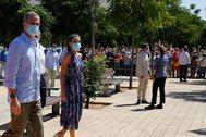Los Reyes, a su llegada al Centro Don Bosco en el Polígono Sur de Sevilla.