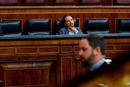 Pablo Iglesias y Santiago Abascal, en un pleno del Congreso.