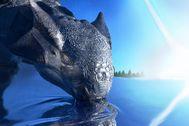 Recreación artística de un dinosaurio de la especie 'Ankylosaurus magniventris' durante el impacto de un asteroide