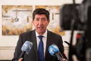 Juan Marín, tras presidir este lunes la reunión del Consejo Andaluz del Turismo
