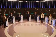 Los candidatos para las elecciones de Galicia antes del debate.