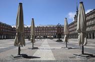 La plaza Mayor de Madrid, vacía al inicio de la desescalada