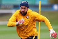 Berni, durante un entrenamiento con el Inter.