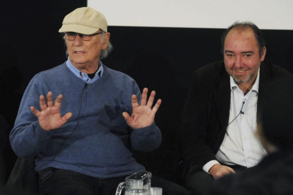 Natalio Grueso (dcha.), junto al director de cine Carlos Saura, en una presentación en 2013.