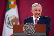 El presidente de México, López Obrador, durante una rueda de prensa.