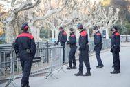 Imagen del perímetro frente al Parlament que montaron los Mossos