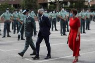 El Ministro de Interior, Fernando Grande-Marlaska, junto a la directora general de la Guardia Civil, María Games, en el acto  incorporación de los guardias civiles en prácticas a la Comunidad de Madrid, este miércoles.
