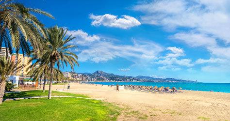 La playa de la Malagueta, en la ciudad de Málaga.