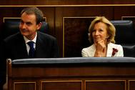Elena Salgado junto a José Luis Rodríguez Zapatero en 2011