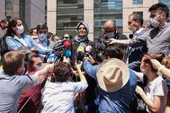 Istanbul (Turkey).- Hatice Cengiz, the fiancee of murdered Saudi journalist Jamal lt;HIT gt;Khashoggi lt;/HIT gt;, speaks to media after first session of trial over the murder of lt;HIT gt;Khashoggi lt;/HIT gt;, in Istanbul, Turkey, 03 July 2020. Turkey on 03 July opened the trial of 20 Saudi nationals in absentia over the killing of Saudi journalist Jamal lt;HIT gt;Khashoggi lt;/HIT gt; who was killed in the Saudi consulate in Istanbul in 2018. (Turquía, Estanbul) EPA/