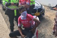 Nairo Quintana, tras sufrir una caída mientras entrenaba.