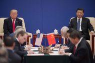 Donald Trump y el presidente chino Xi Jinping, durante una cumbre bilateral.