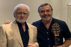 Manolo Sanlúcar y Manolo Franco antes del concierto inaugural de Franco