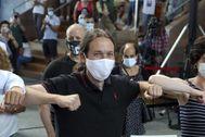 Pablo Iglesias, este domingo en un mitin electoral en Galicia.