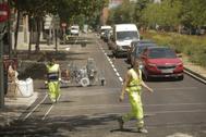 Trabajos de asfaltado, en Avenida Alto Carabanchel