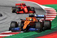 Norris, por delante de Leclerc, el domingo en el Red Bull Ring.