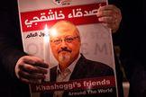 Cartel en memoria del periodista saudí Jamal Khashoggi.