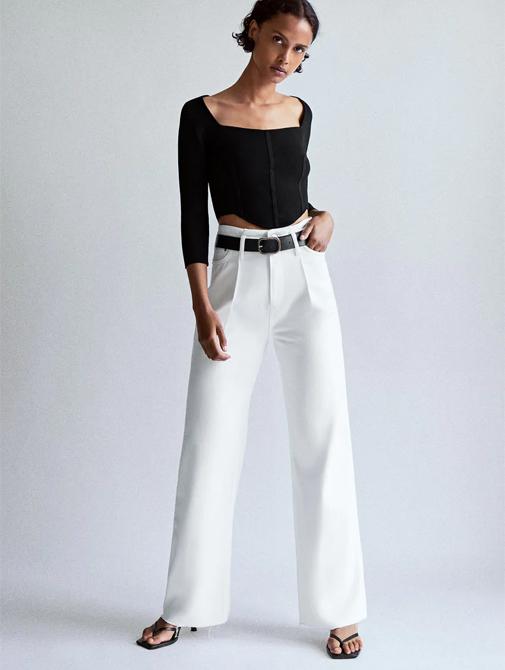 Jeans de tiro alto con pernera ancha y extralargos. Son de la línea Join Life de Zara y ahora están rebajados. Su precio, solo 19,99 euros.