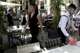 La terraza de un restaurante en Madrid, en la nueva normalidad.