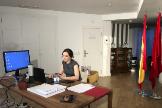 Isabel Díaz Ayuso, en el apartahotel.
