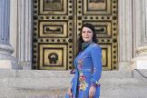 La diputada de Vox Macarena Olona, a las puertas del Congreso.