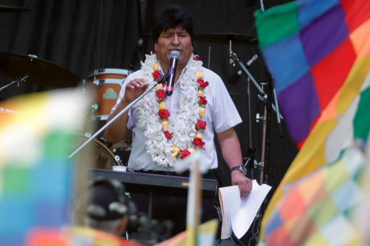 Charla de Evo Morales en Argentina el pasado enero.