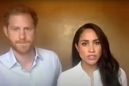 El príncipe Enrique y Meghan Markle, durante su encuentro virtual con jóvenes.