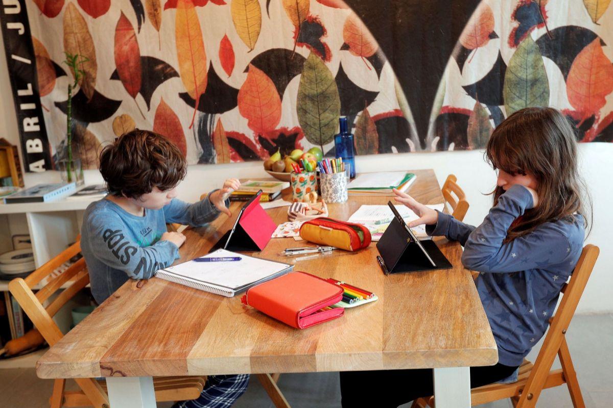 Dos alumnos siguen sus tareas escolares online.