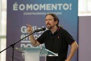 El secretario general de Podemos, Pablo Iglesias, participa en un acto de la campaña gallega.