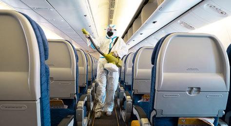 Desinfección dentro de un vuelo.