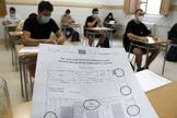 Los alumnos de un instituto de Castellón antes de la prueba.