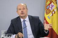 Juan Carlos Campo, en rueda de prensa tras el Consejo de Ministros.