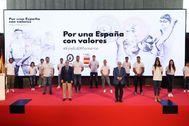 """MADRID.- El presidente del Comité Olímpico Español ( lt;HIT gt;COE lt;/HIT gt;), Alejandro Blanco (i), y el presidente de la UCAM, José Luis Mendoza Pérez (d), durante la presentación este martes de la campaña """"Por una España con valores"""", en un acto celebrado en la sede del lt;HIT gt;COE lt;/HIT gt; en Madrid."""
