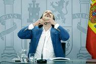 Pablo Iglesias, durante la rueda de prensa posterior al Consejo de Ministros.