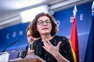 La eurodiputada Maite Pagazaurtundua, en una rueda de prensa en el Congreso de los Diputados.