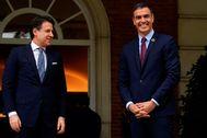 Pedro Sánchez, con Giuseppe Conte este miércoles en La Moncloa.