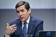 El presidente de BBVA, Carlos Torres, en la presentación de resultados del ejercicio 2019