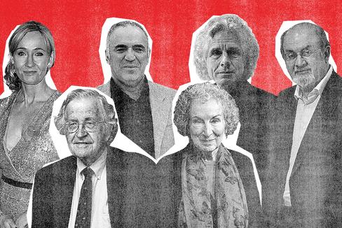 De izquierda a derecha: J.K. Rowling, Noam Chomsky, Garri Kasparov, Margaret Atwood, Steven Pinker y Salman Rushdie.