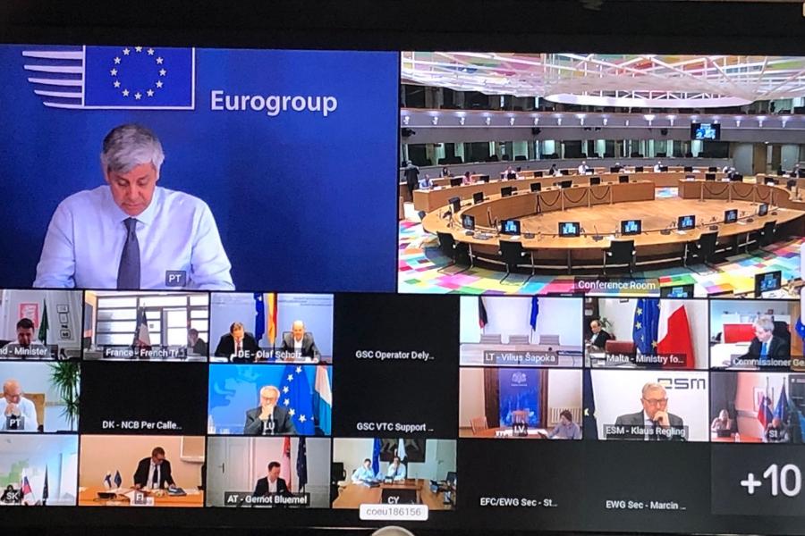 Imagen de la reunión del Eurogrupo tuiteada por Nadia Calviño.