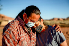 A lt;HIT gt;Navajo lt;/HIT gt; husband and wife encourage one another because of the Coronavirus curfew by the Tribal Council in Arizona