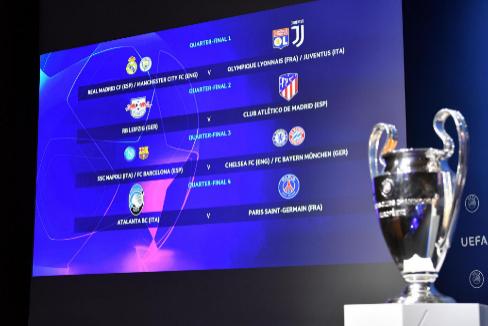 Imagen del sorteo de los cuartos de final y las semifinales de la Champions.
