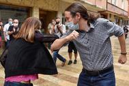 El secretario general de Podemos, Pablo Iglesias, este viernes, en Durango (Vizcaya).