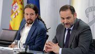 El vicepresidente segundo, Pablo Iglesias, y el ministro de Transportes, José Luis Ábalos, el pasado martes en rueda de prensa en Moncloa.
