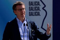 El presidente del PPdeG y candidato a revalidar la presidencia de la Xunta, Alberto Núñez Feijóo en un acto electoral el viernes en Lugo