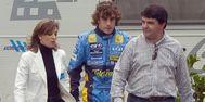 Abad y Alonso, en 2005, durante un rodaje comercial en Madrid.